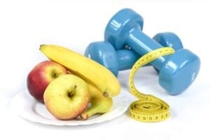 fruit and weights